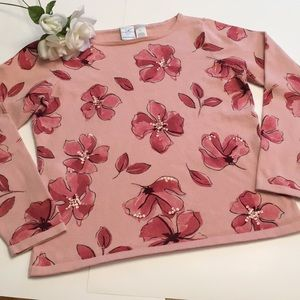 Size medium Soft pink floral sweater